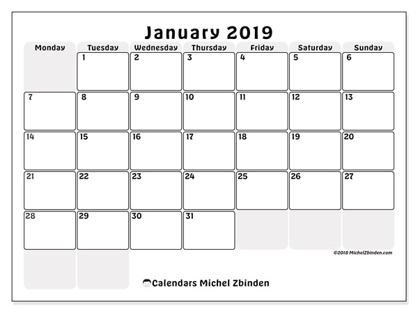 January 2019 Calendars Ms Michel Zbinden En