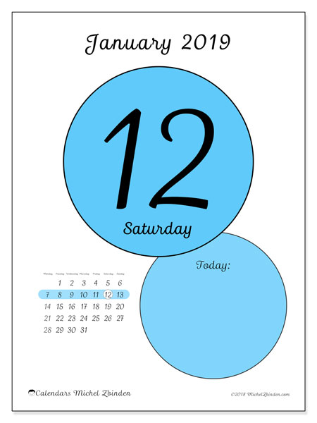 January 2019 Calendar, 45-12MS. Free printable daily calendar.