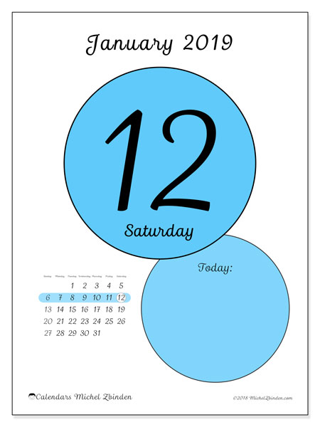 Calendar January 2019 (45-12SS). Free printable daily calendar.