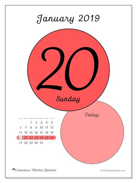 January 2019 Calendar, 45-20SS. Free printable daily calendar.