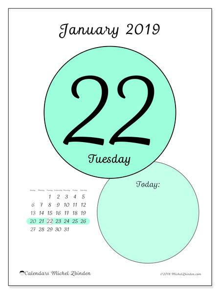 January 2019 Calendar, 45-22SS. Daily calendar to print free.