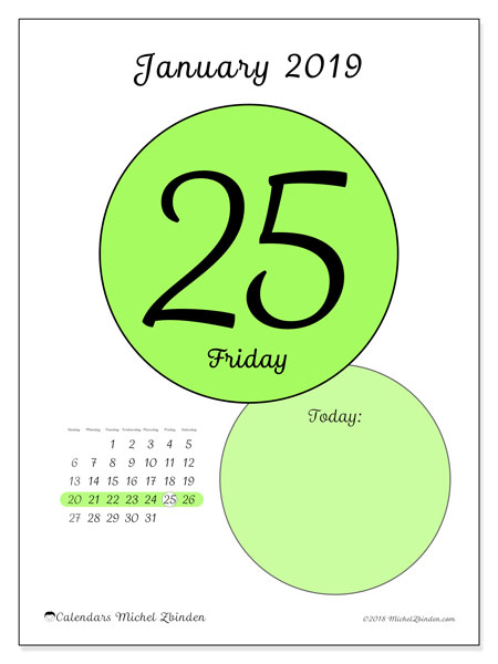 January 2019 Calendar, 45-25SS. Daily calendar to print free.