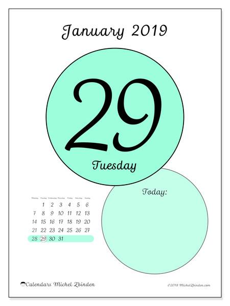 January 2019 Calendar, 45-29MS. Daily calendar to print free.