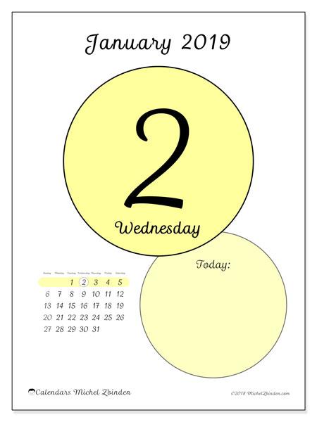 Daily calendar 2019 january