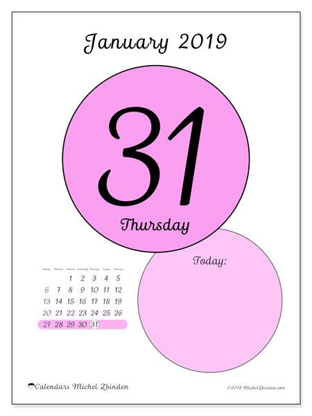 January 2019 Calendar, 45-31SS. Free printable daily calendar.