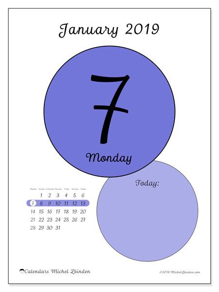 January 2019 Calendar, 45-7MS. Daily calendar to print free.