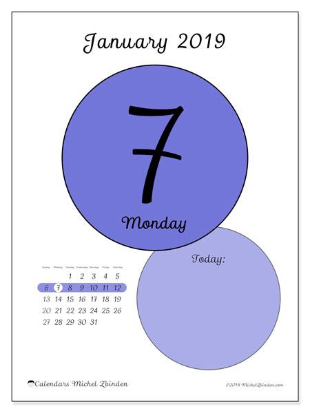 January 2019 Calendar, 45-7SS. Free printable daily calendar.