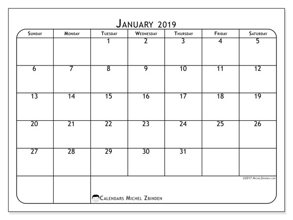 Calendar January 2019 (51SS). .