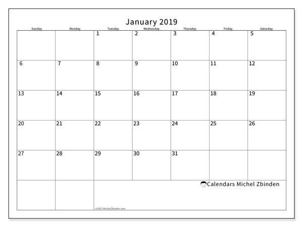 January 2019 Calendar, 53SS. Free printable bullet journal.