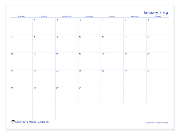 January 2019 Calendar, 55MS. Monthly planner to print free.