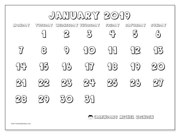 January 2019 Calendar, 56MS. Planner to print free.