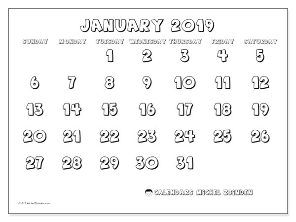 January 2019 Calendar, 56SS. Free planner to print.