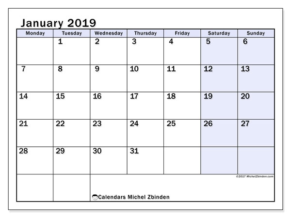 Calendars January 2019 Ms Michel Zbinden En