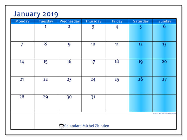 January 2019 Calendar, 58MS. Monthly calendar to print free.