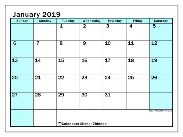 Calendar January 2019 (59SS). Free printable calendar.