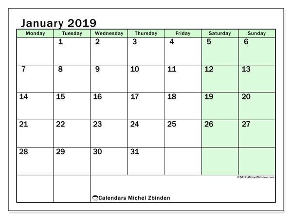 January 2019 Calendar, 60MS. Monthly planner to print free.