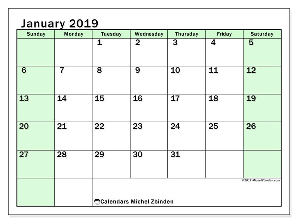 January 2019 Calendar, 60SS. Free printable monthly planner.