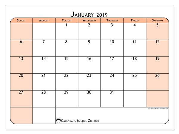 January 2019 Calendar, 61SS. Free printable monthly calendar.