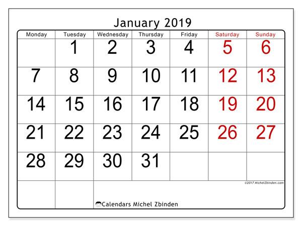 January 2019 Calendar, 62MS. Free printable monthly calendar.