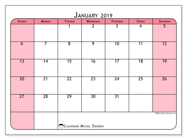 Calendar January 2019 (64SS). Free printable calendar.