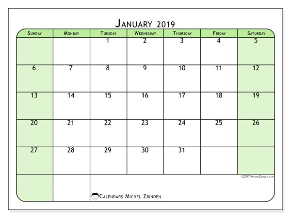 January 2019 Calendar, 65SS. Free printable monthly calendar.