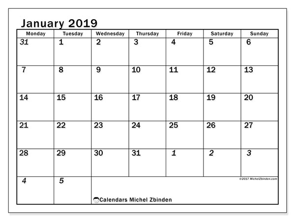 January 2019 Calendar, 66MS. Planner to print free.