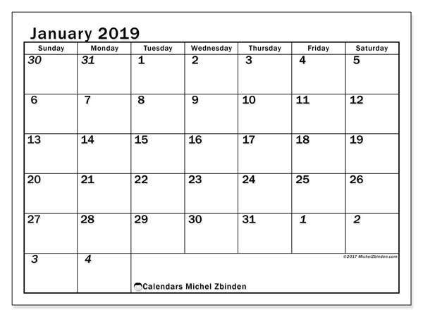 Calendar January 2019 (66SS). Planner to print free.