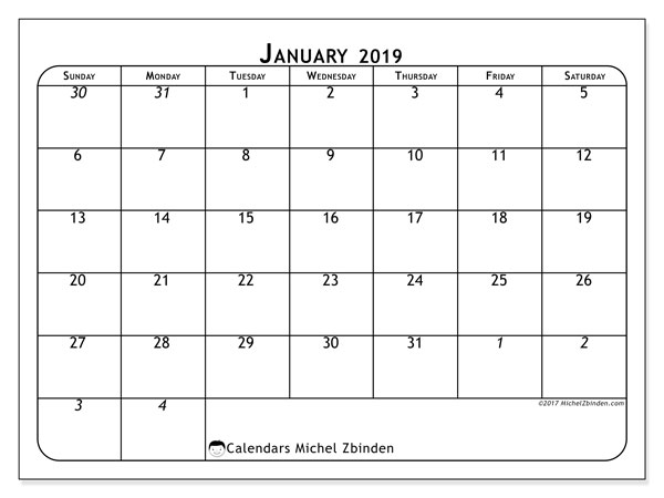 January 2019 Calendar, 67SS. Free bullet journal to print.