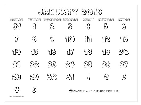 January 2019 Calendar, 71MS. Free printable monthly planner.