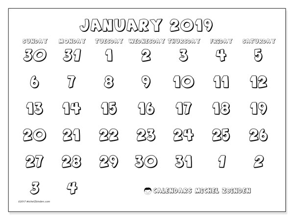 Calendar January 2019 (71SS). Free planner to print.