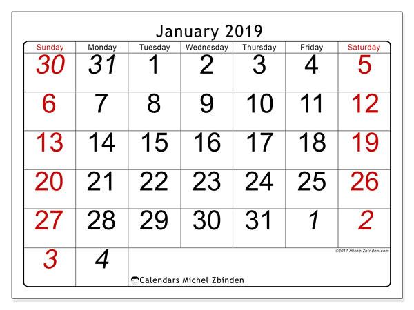January 2019 Calendar, 72SS. Monthly calendar to print free.
