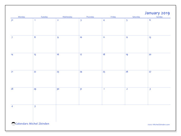January 2019 Calendar, 73MS. Free bullet journal to print.