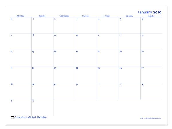 January 2019 Calendar, 73MS. Calendar to print free.