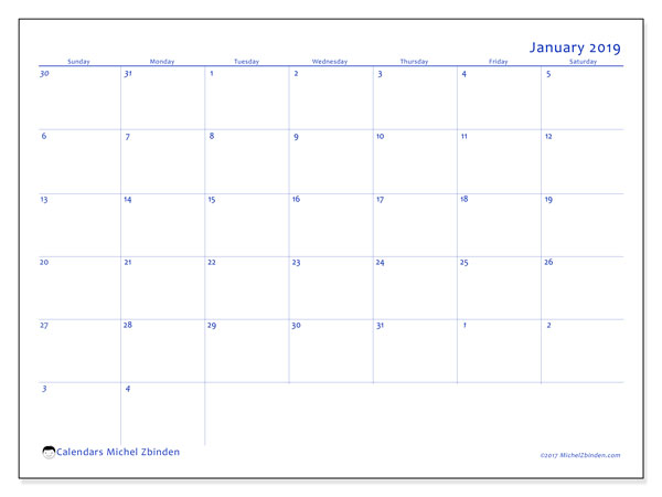 Calendar January 2019 (73SS). Calendar for the month to print free.