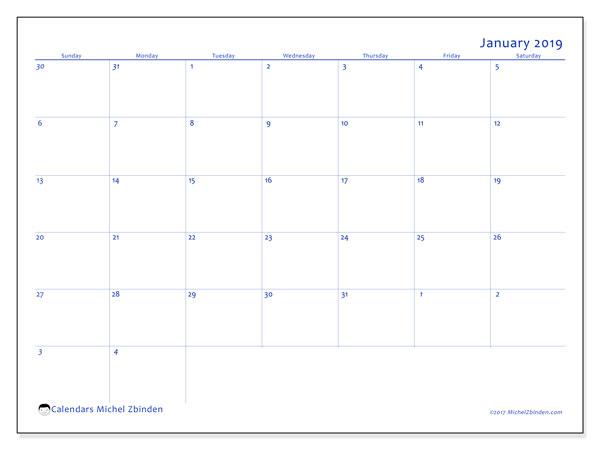 January 2019 Calendar, 73SS. Calendar to print free.
