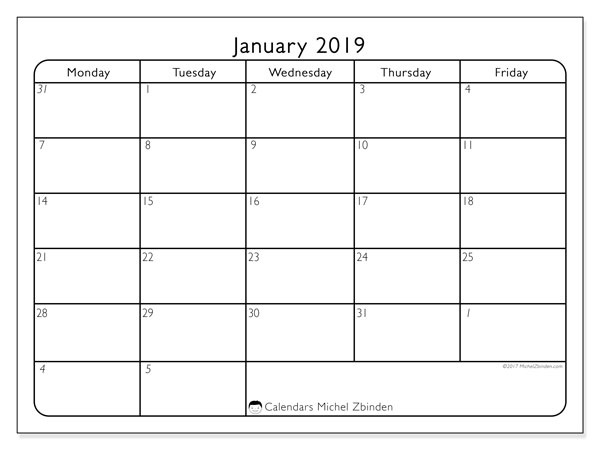 January 2019 Calendar, 74MF. Free planner to print.