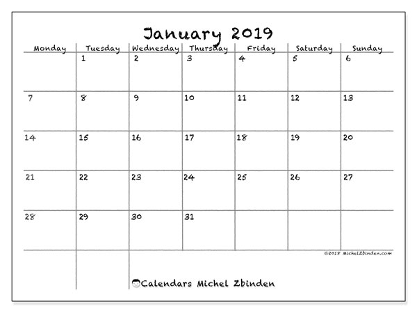 January 2019 Calendar, 77MS. Bullet journal to print free.