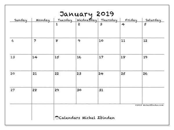 Calendar January 2019 (77SS). Calendar to print free.