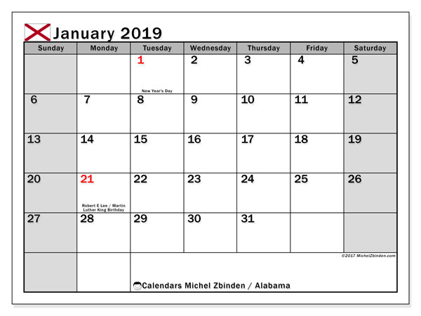 Calendar Alabama, January 2019