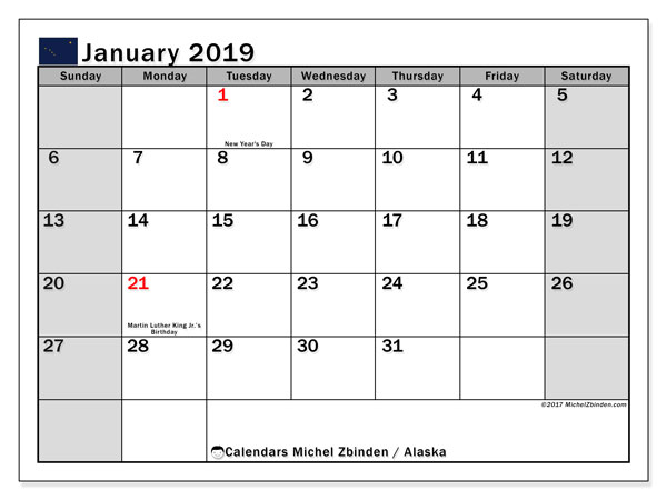 Calendar January 2019, with the holidays of Alaska. Free bullet journal to print.
