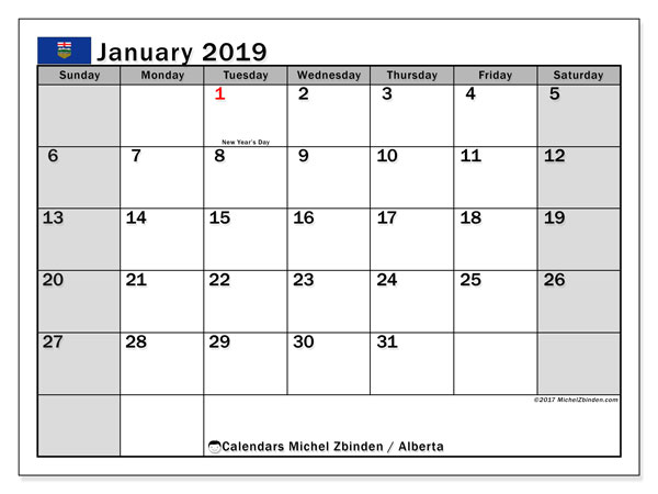 Calendar January 2019, with the holidays of Alberta. Monthly calendar to print free.