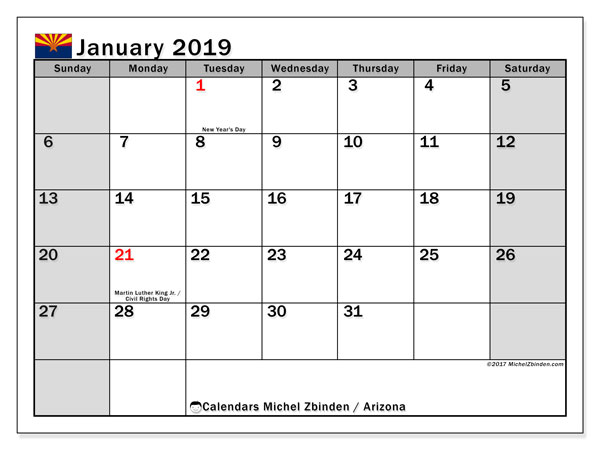 January 2019 Calendar  - Arizona. Printable calendar: bank holidays.