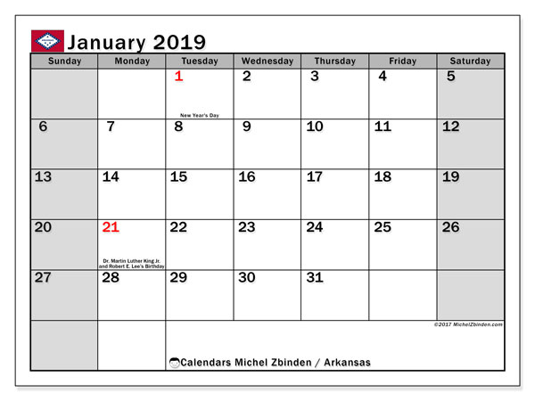 January 2019 Calendar  - Arkansas. Printable calendar: official holidays.
