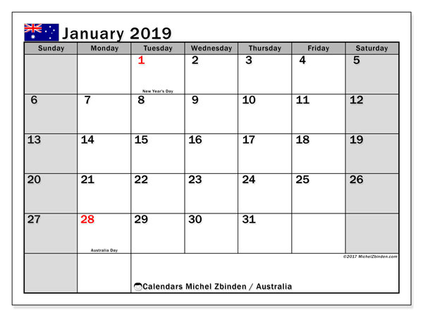 Free Printable January 2019 Calendar With Holidays January 2019 Calendar, Australia   Michel Zbinden EN