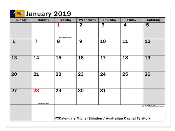 Calendar January 2019, with the holidays of Australian Capital Territory. Free printable monthly calendar.