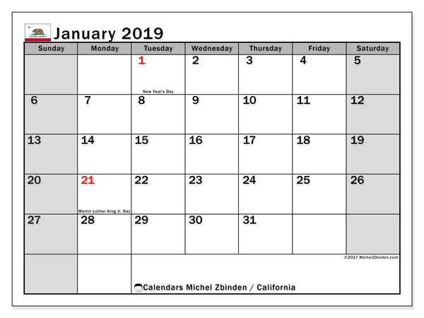 Calendar California, January 2019