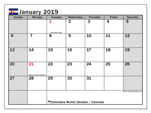 Calendar Colorado, January 2019