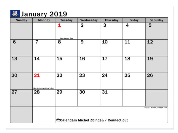 Calendar January 2019, with the holidays of Connecticut. Calendar to print free.