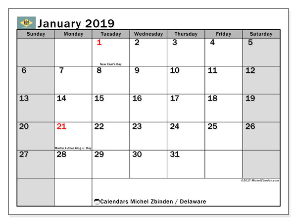 Calendar January 2019, with the holidays of Delaware. Free planner to print.
