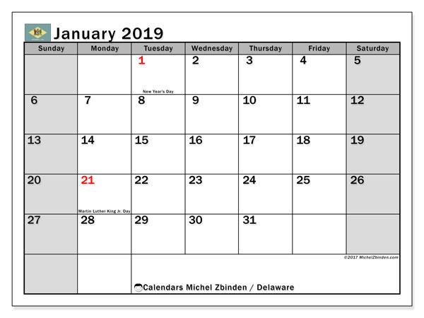 January 2019 Calendar  - Delaware. Printable calendar: public holidays.
